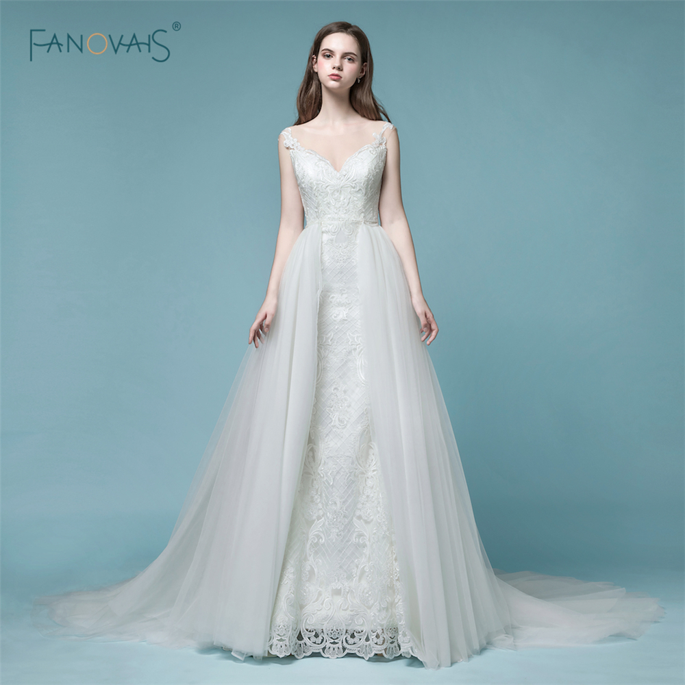 Sexy Wedding Dresses Long 2019 Sheer Back Mermaid Wedding Gown Tulle Removable Train Lace Bridal Dress