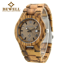 BEWELL Natural Zebra Wood Watch Men's Wrist Quartz Casual Watch Thin Case With Calendar Display Relogio masculino With Box 127A