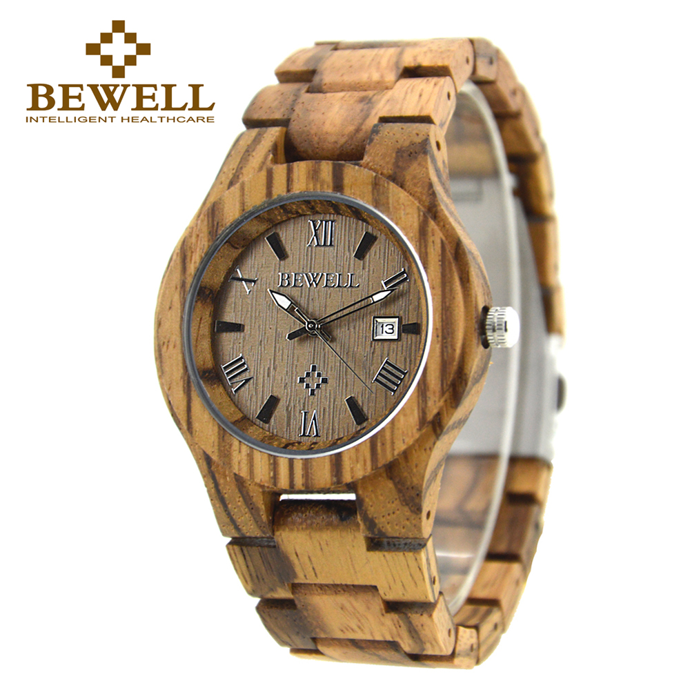 BEWELL Men Watch Natural Zebra Wood Handmade Wooden Men's Watch Quartz Casual Watch Brand Luxury Time Special Design Watch 127A bewell natural wood watch men quartz watches dual time zone wooden wristwatch rectangle dial relogio led digital watch box 021c
