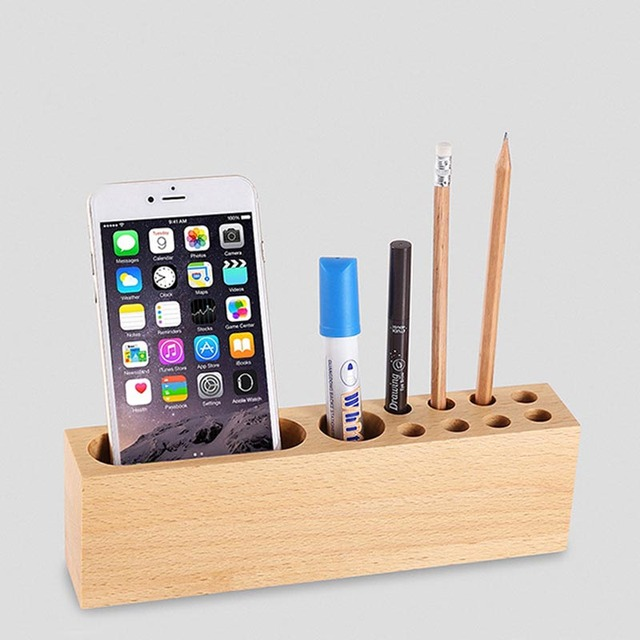 Universal Wooden Mobile Phone Stand Holder Wood Dock Holders Office Desk  Pens Storage Bracket DY