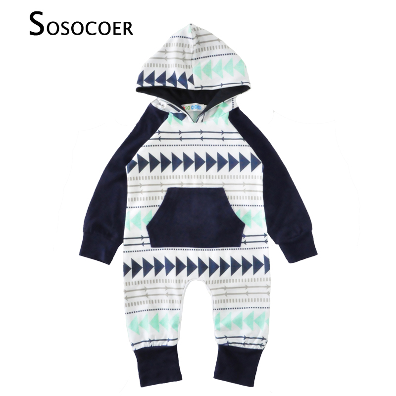 SOSOCOER Baby Boy Romper Long Sleeve Arrow Hooded Newborn Rompers Boys Clothes 2017 Autumn Triangle Printed Kids Infant Jumpsuit newborn infant baby boy girl cotton romper jumpsuit boys girl angel wings long sleeve rompers white gray autumn clothes outfit