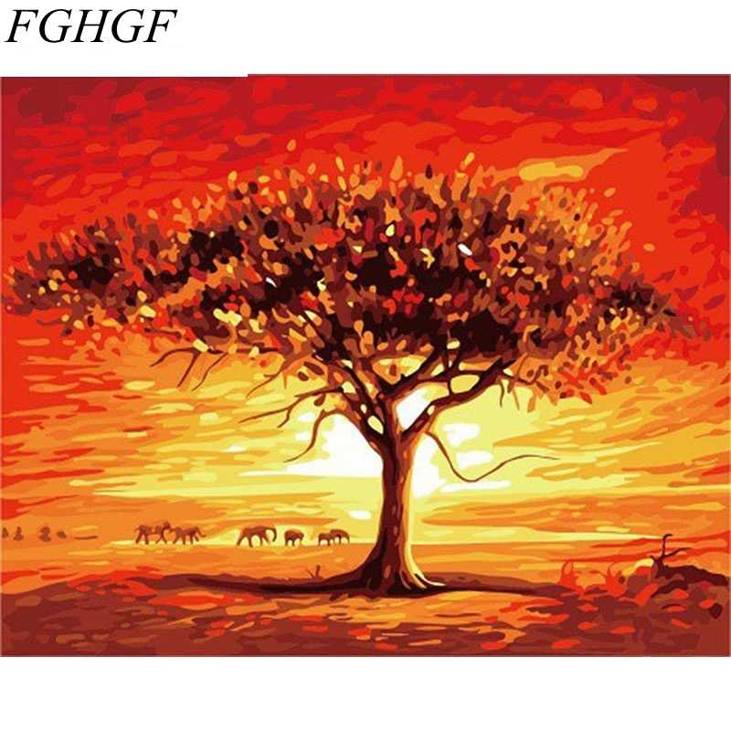 FGHGF Oil Painting Desert Landscape DIY Painting By Numbers Wall Art Picture Home Decor For Living Room Wall Artwork