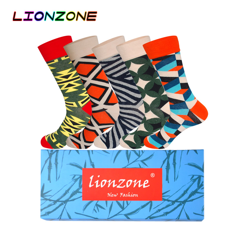 LIONZONE 5Pairs Gift Box Men Socks Cotton Flora Stripes Pentagram Dot Geometric 7 Choice Colorful Multiple Colors Happy Socks
