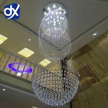 Modern Fashion Penthouse Floor K9 Crystal Pendant Lamp Villa Hall Crystal Lamp Five Size Optional Free Shipping