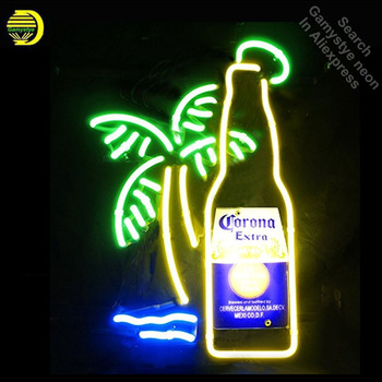 Neon Signs for Corona Extra Bottle Palm Tree Neon Light Sign Handcrafted Neon Bulbs Glass Tube Decorate Wall Signs dropshipping