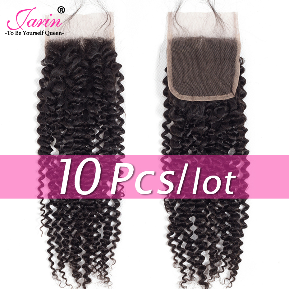 Jarin Hair 10 Pieces lot Kinky Curly Closure 8 22 inch 4 4 Free Middle Part