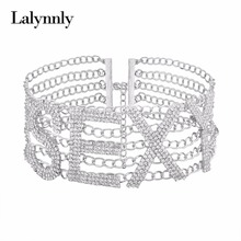 Lalynnly SEXY Paved Rhinestone Choker Necklace Charms Crystal Collar Necklaces for Women Party Luxury Necklace Jewelry N57921