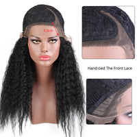 Leeons Kinky Straight Wig Best Quality High Temeperature Fibre Synthetic Wig For Afro Women Long Black Cosplay Natural Afro Hair