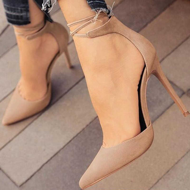 176df2a6f ... New women high heels sexy pumps stiletto pointed toe party ankle  strappy high heels black ladies ...