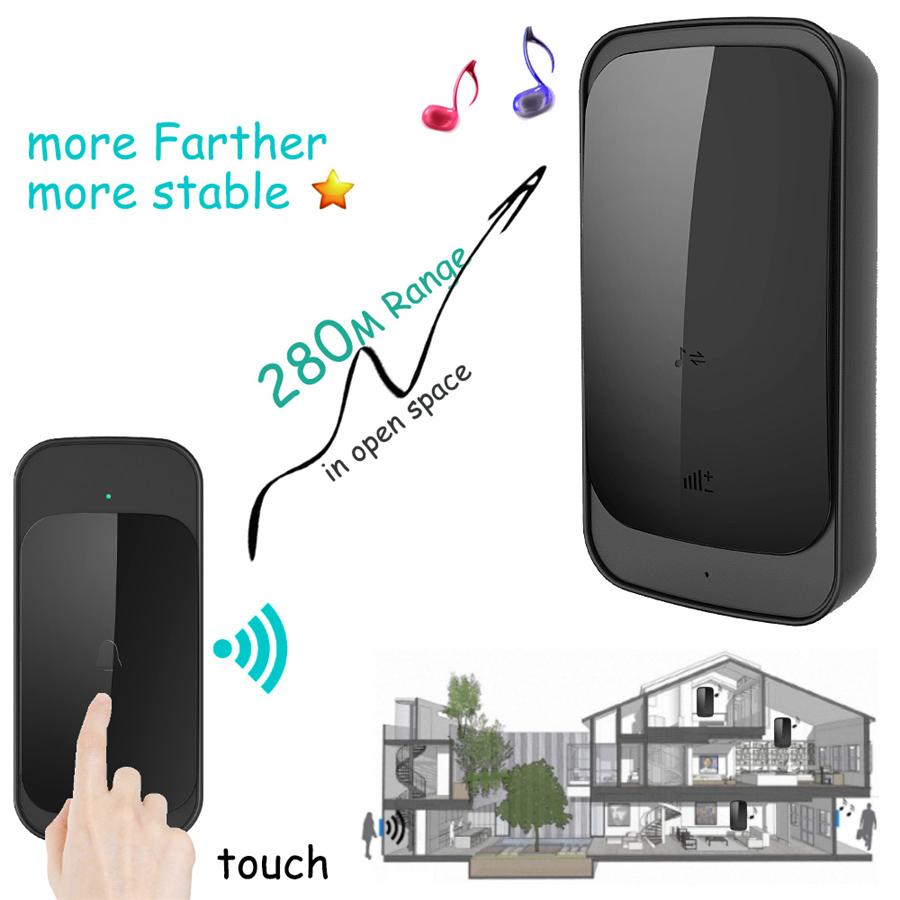 SMATRUL NEW Wireless doorbell NO BATTERY self powered waterproof LED light 51 Music 150M Remote smart Door bell chime EU Plug AC 110-220V 1 Button 2 receiver 3