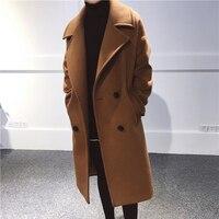 Krismile Cashmere Coat Winter Wool Women Coat Turn down Collar Long Woolen Coat Plus Size M 5XL abrigos mujer invierno 2017 lana