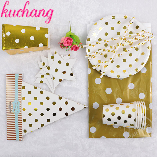 High end Disposable Tableware Colorful Gold Black Silver Polka Dot ...