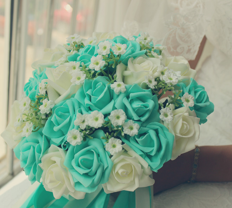 Aliexpress Buy Turquoise Green Ivory Wedding Bouquet Turquoise