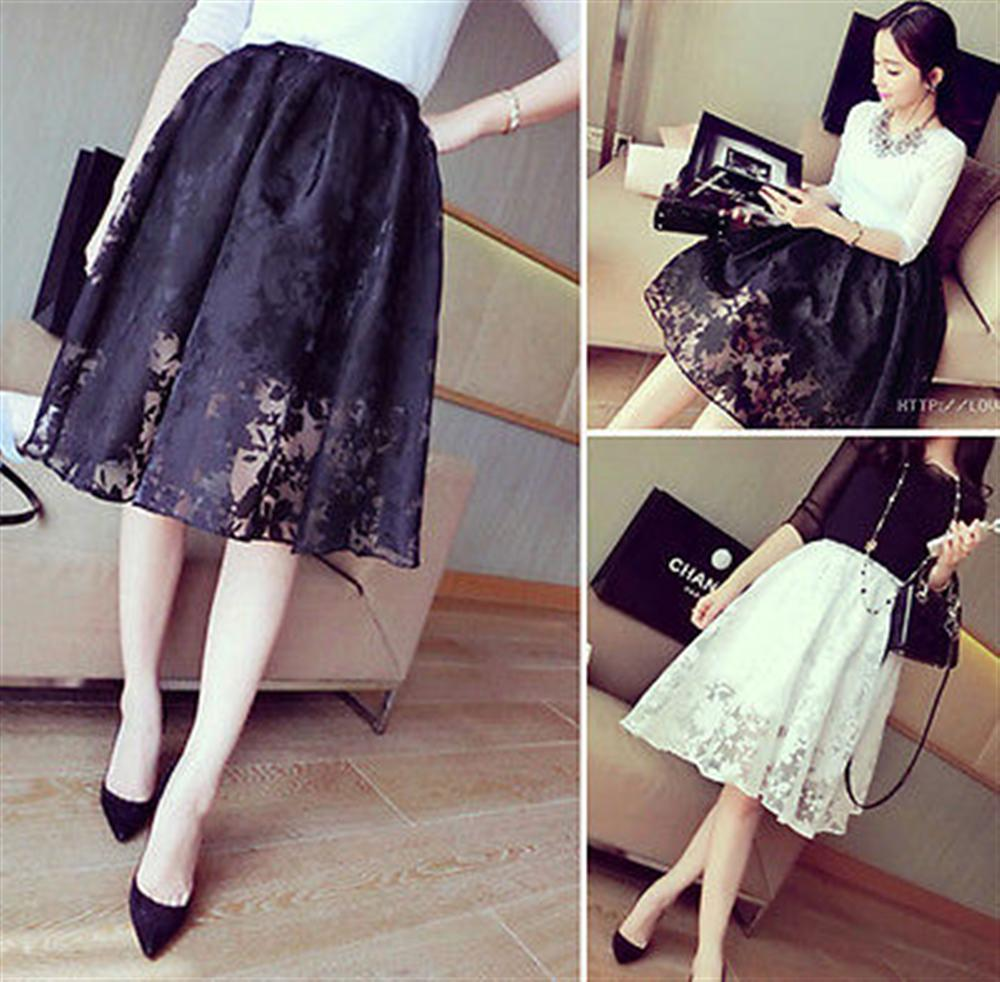 NEW Women Double Layer Lace Pleated Retro Skirt Ball Gown Elastic Waist Midi Skirts