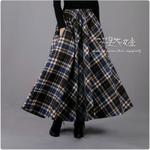 Бренд, весенне-зимняя женская юбка трапециевидной формы, шерстяная Ретро клетчатая Длинная шерстяная Женская Высококачественная винтажная Повседневная Плотная юбка макси