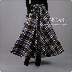 Marca 2020 primavera invierno mujer falda A-line lana Retro Plaid larga lana mujer alta calidad Vintage Casual Maxi faldas gruesas