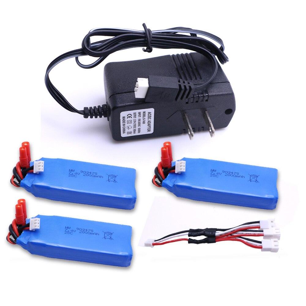 3шт Сыма X8C X8W X8G RC горючего дистанционного управления mjx X101 Аккумулятор 7.4 V 2000mah батареи +3 в 1 зарядное устройство для mjx X101/X102H не mjx радиоуправляемый вертолет