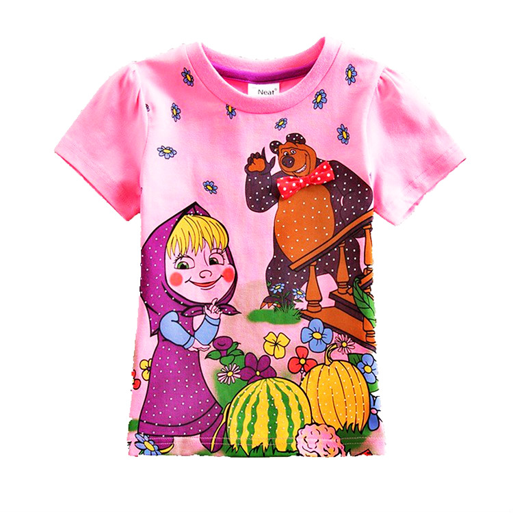 561139a8f Tops de verano Masha y oso de dibujos animados algodón niñas manga corta  camiseta rosa Fortnite niños