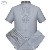 רקמת פשתן גברים קיץ חולצות חולצות מקרית גודל פלוס צווארון מנדרינה הסינית מסורתית של ערכות בגדי חליפות חולצה