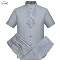 Embroidery Linen Shirts Men Summer Casual Shirts Plus Size Mandarin Collar Chinese Traditional Clothing Sets Men