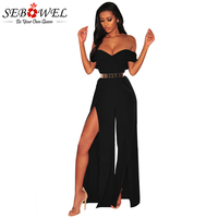 Sebowel 2018 Summer Faux Wrap Off Shoulder Jumpsuit Long Pants High Slit Sexy Jumpsuits And Rompers For Women Body Feminino