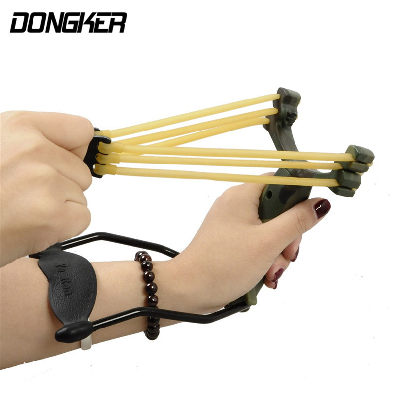 Outdoor Powerful Camouflage Slingshot Catapult Caza Folding Wrist Airsoft Sling Shot Games Tools With Rubber Bands Slingshots