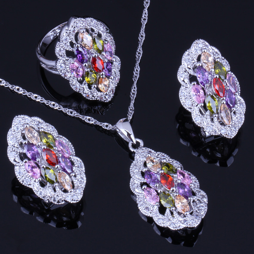 Amazing Multicolor Multigem Red Cubic Zirconia 925 Sterling Silver Jewelry Sets Earrings Pendant Chain Ring V0015