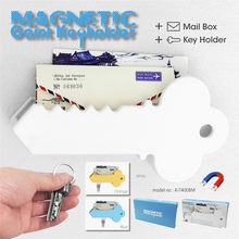 Magnetic Key Stand Box Organizer Key Shape Decorative Storage Home Decoration+2xDouble-sided Tape D#3(China)