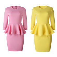 Женское облегающее платье карандаш средней длины розовое желтое