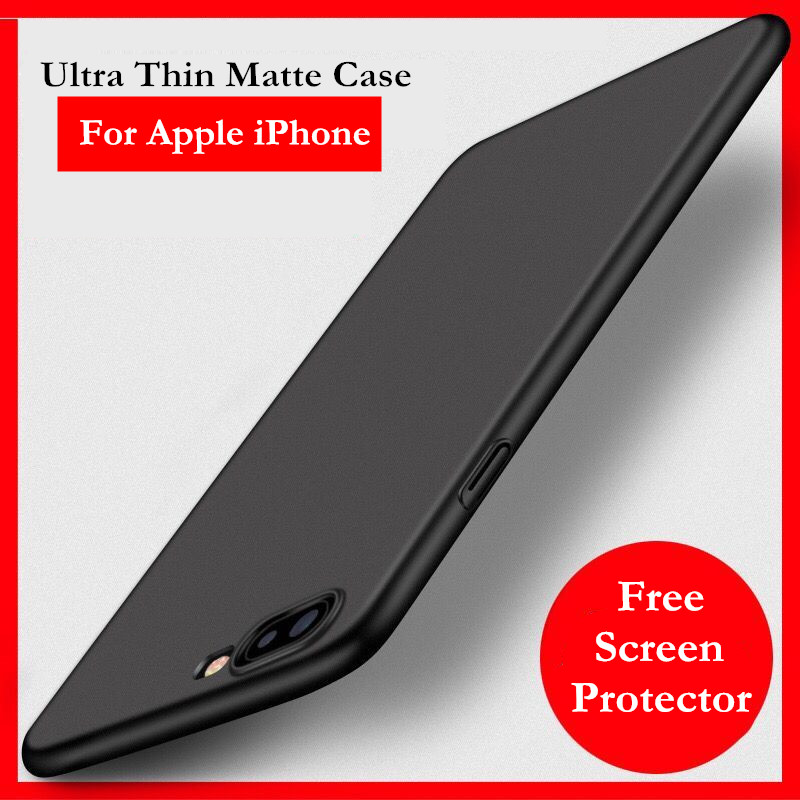 Ultra Thin Matting Cases For iPhone7 Coque Funda For iPhone7 Silicone Back Covers Full Protective Black Shell For iphone7plus