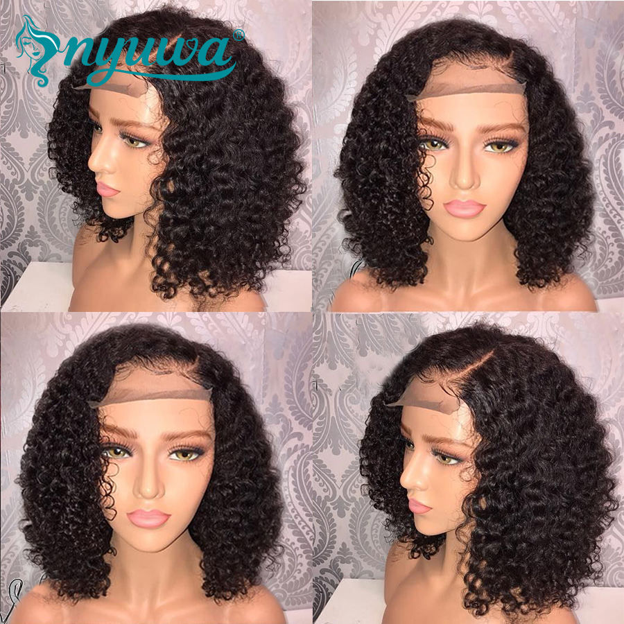 150% Full Lace Human Hair Wigs Pre Plucked Curly Brazilian Remy Hair Short Glueless Full Lace Wigs With Baby Hair NYUWA 10-14