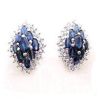 2017 Qi Xuan_Fashion Jewelry_Dark Blue Stone Luxury Rhombus Stud Earrings_S925 Solid Silver Earrings_Factory Directly Sales