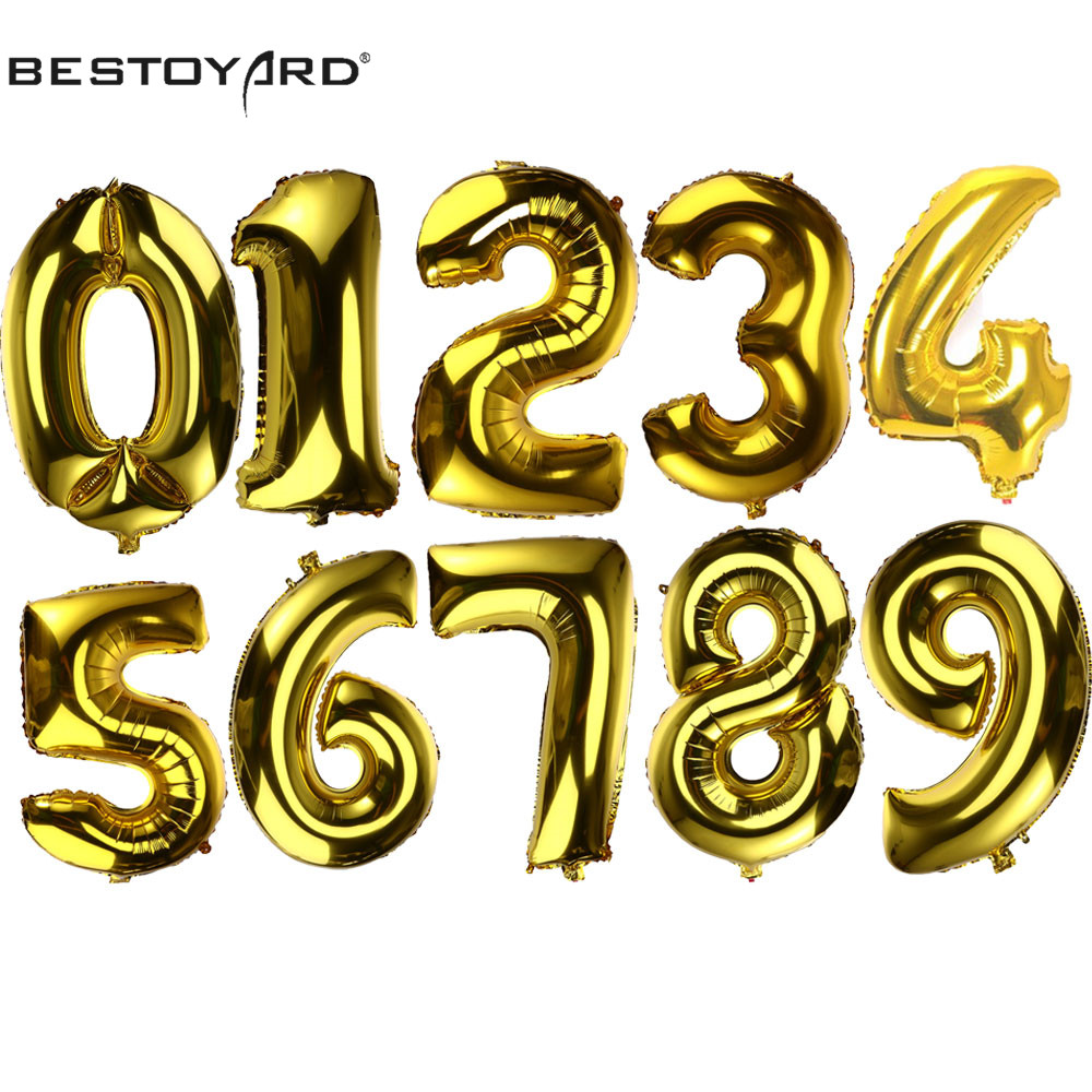 32 Inch 0 9 Number Aluminum Foil Gold Balloon Big Size Helium Balloons Birthday Wedding Party Decoration Celebration Supplies