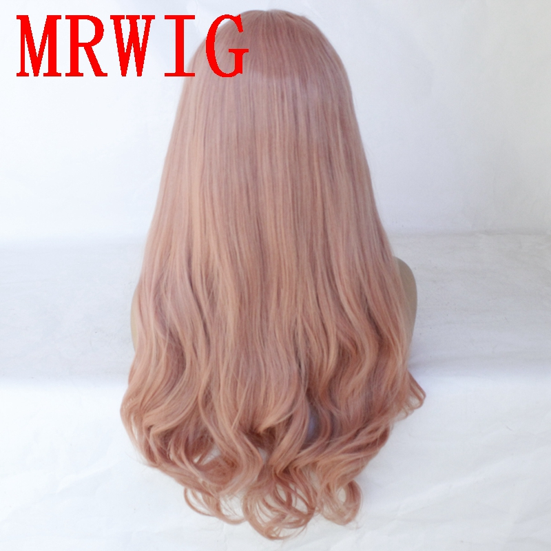 MRWIG Long Wavy 26in 320g Dark Pink Middle Part Synthetic Lace Front Wig Heat Resistant for Woman in Synthetic None Lace Wigs from Hair Extensions Wigs