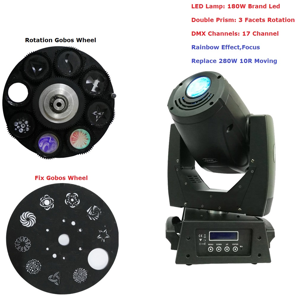 New Arrival 180W Led Moving Head Light DMX512 17CHs Strong Powerful 180W Spot Beam Moving Head For Professional Stage Lights