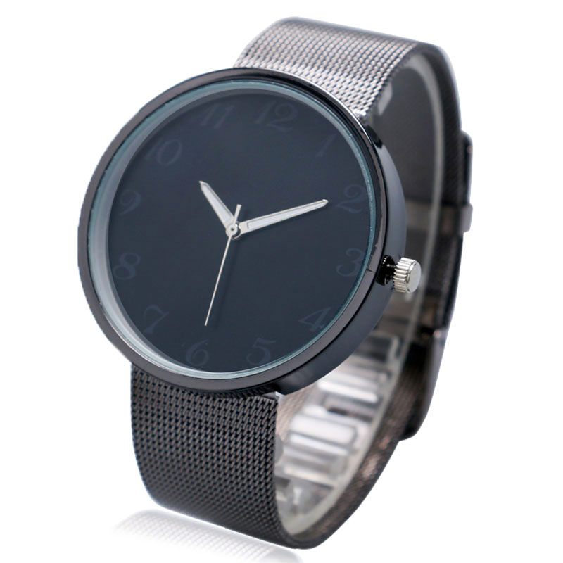 Wrist Watch Cool Black Dial Simple Mesh Stainless Steel Band Strap Women Mens Casual Watch Best Gifts цена и фото