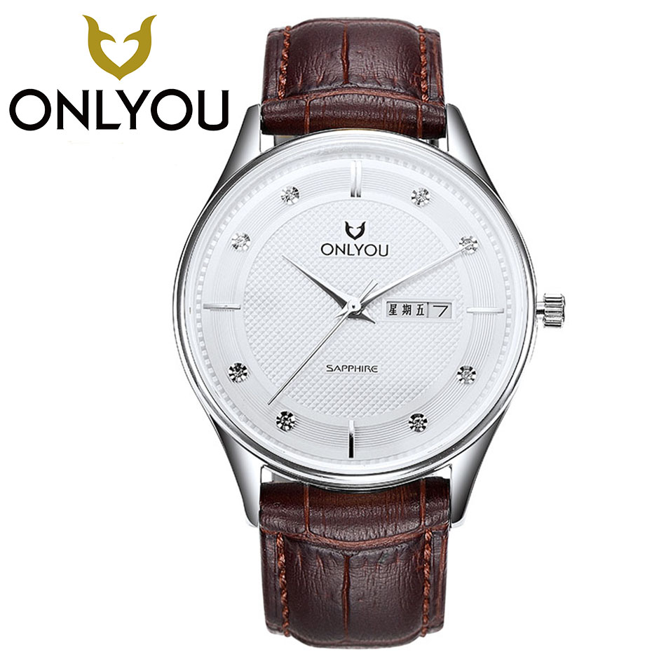 ONLYOU  Fashion Brand Watch Women Mens Watches Top Brand Luxury Wristwatches Women Ladies Leather Quartz Watch Wholesale onlyou women top brand fashion watch super slim quartz waterproof wristwatch females casual fabric gift watces wholesale
