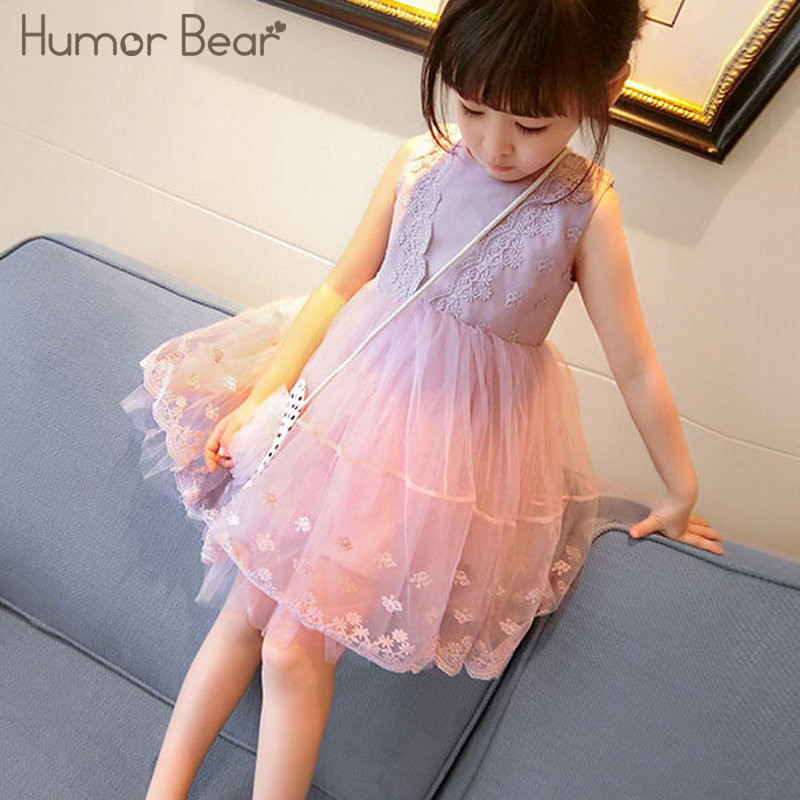 Humor Bear Baby Girl Dress 2018 Toddler Baby Boy Clothes Summer Sleeveless A-Line Lace Dress Princess baby girl clothes ems dhl free shipping toddler little girl s 2017 princess ruffles layers sleeveless lace dress summer style suspender