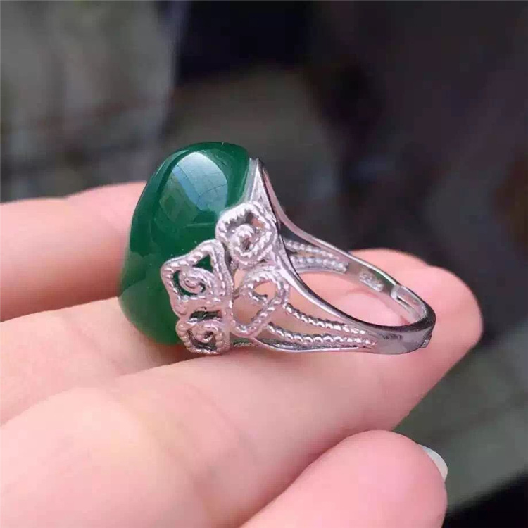 KJJEAXCMY fine jewelry 925 Pure silver natural green jade medulla female ring inlay decoration wildflower simple alien oval godd wildflower