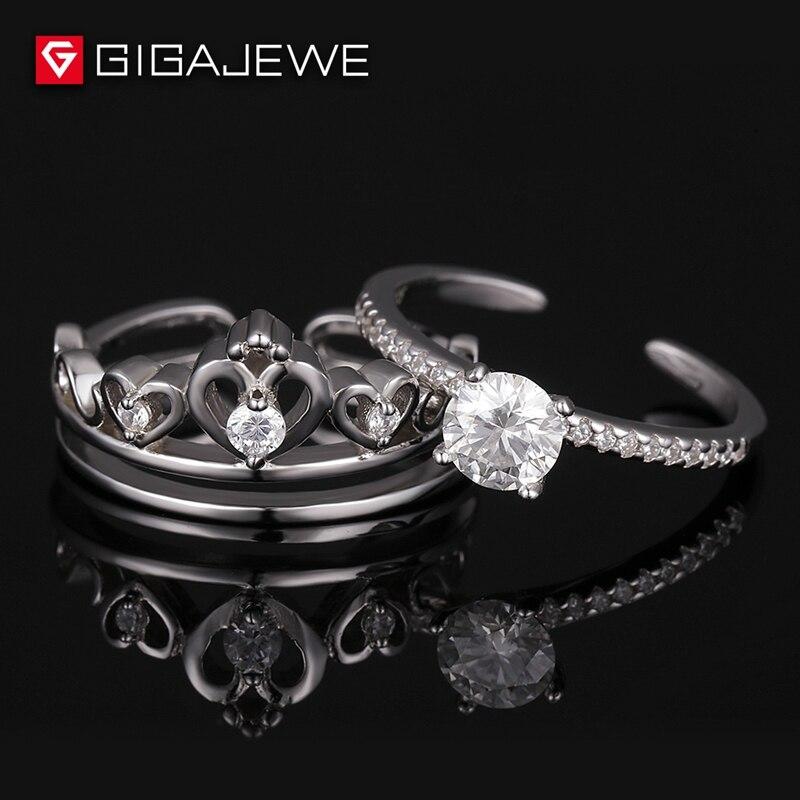 Moissanite Ring Set 0.8ct Moissanite Engagement Ring 6.0mm Round Cut Gem stone Curved Art Deco Wedding Band Silver 925 серьги art silver art silver ar004dwzmh30