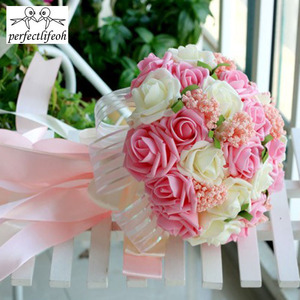 Image 2 - perfectlifeoh Mint Green Artificial flowers Wedding Bridesmaid Bouquets 2016 Romantic Wedding brooch bouquets Wedding Accessies