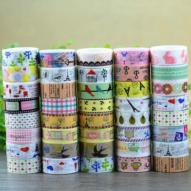 1 UNIDS DIY Caramelo Caliente Flor Decoración Cinta Rollo Decorativo Sticky Paper Masking Tape Washi DIY Cinta Adhesiva Bloc de Notas cinta