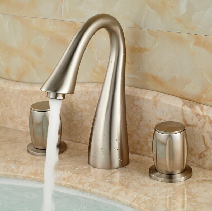 Widespread Double Handles Basin Sink Mixer Tap Swan Shape Bathroom ...