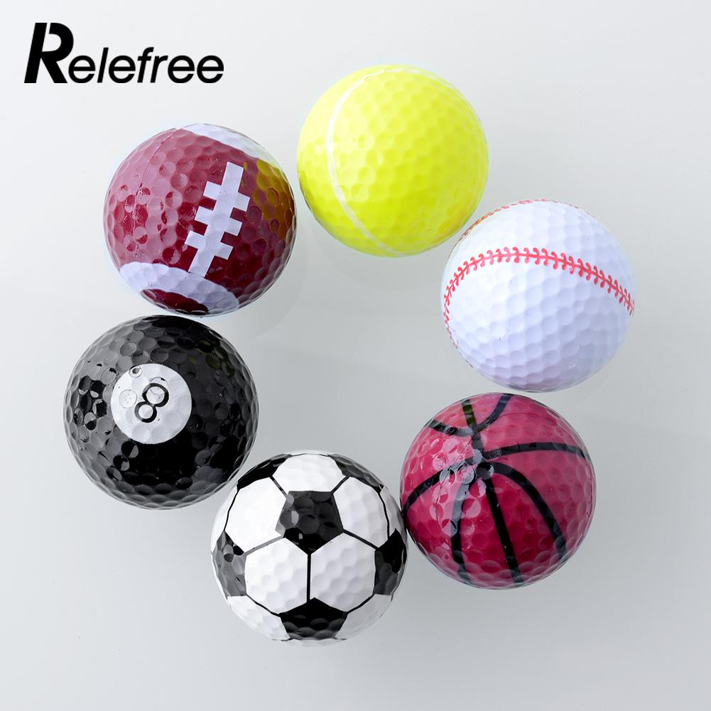 Set 6PCs Novelty Assorted Champion Sports Golf Double Balls Joke Fathers Day Best Present Rubber