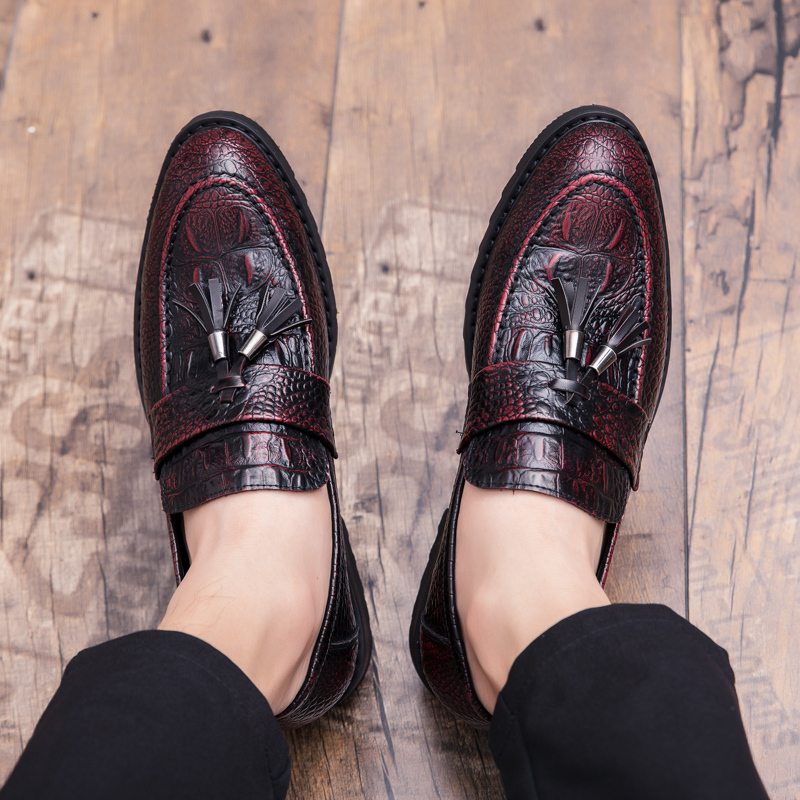 Padrão Sapatos Borla Preguiçoso on Couro Sapato Preguiçosos Slip Britânica Moda Crocodilo Macio Casamento Dos Adolescente De Festa Vestido Homens SwqP1p