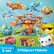 8 Sets Creator Octopus Octonauts GUP base pod Ship submarine Cartoon Building Blocks Models Kids Toy Compatible Kids gifts original octonauts gup h and barnacles vehicle figures toy bath toy child toys