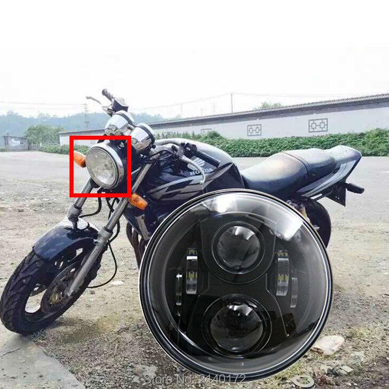 შავი 7 INCH LED პროექტორი შუქნიშანი მაღალი / დაბალი სხივი Honda CB400 CB500 CB1300 Hornet 250 600 წინა ფარები