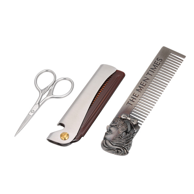 Stainless Steel Hair Comb Scissor Kit Foldable Hair Moustache Beard Comb Facial Hair Trimmer Set for Home Travel Supply