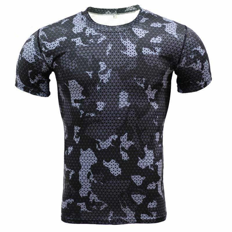Nueva camiseta de camuflaje de Rashgard para hombre, camiseta de compresión para tenis, camiseta ajustada para entrenamiento de gimnasio, Camiseta corta para hombre, ropa deportiva