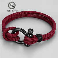 Trendy Outdoor Color Rope Lucky Survival Bracelet Women Men Black Charm Stainless steel Buckle friendship Bracelets Femme homme